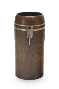 Cylindrical Vase with German Silver Overlay