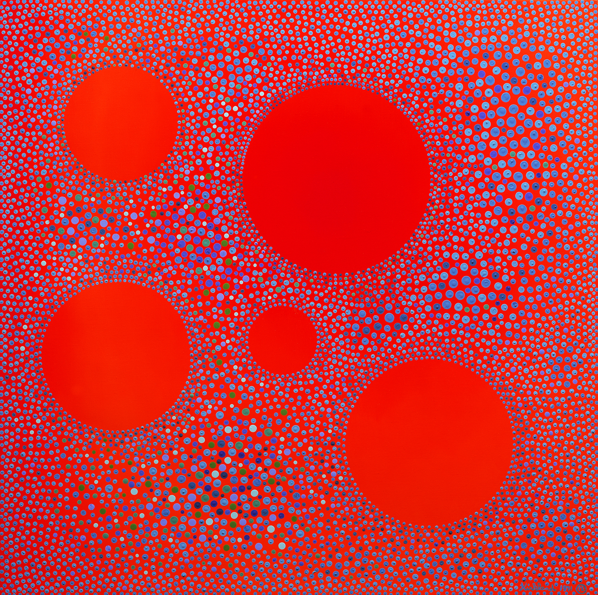 Five Red-Orange Suns in Space