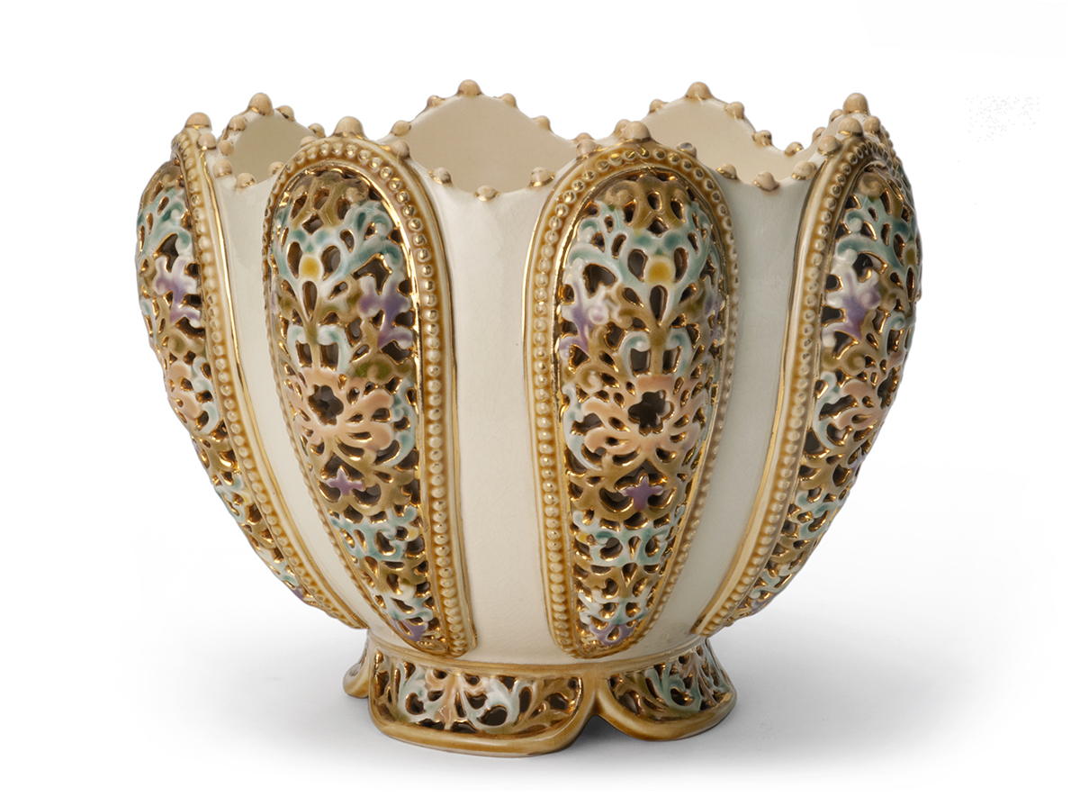 Jardinière with Reticulated Grill Work