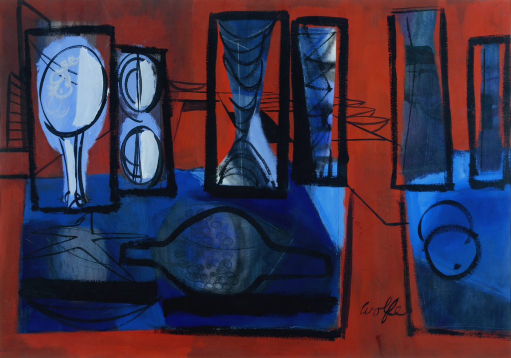 Red and Blue Abstract Still Life, 1950s, by Lynn Wolfe
